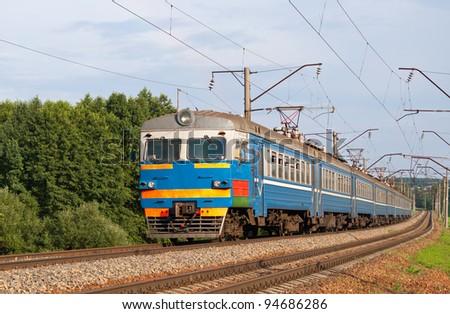 Suburban train in Belarus - stock photo