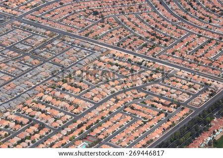 Suburbia in the USA - suburban neighborhoods in Las Vegas, Nevada. - stock photo