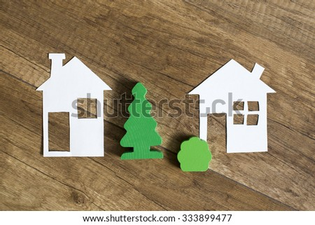 Suburbs house. house in the suburbs with a garden and forest areas - stock photo
