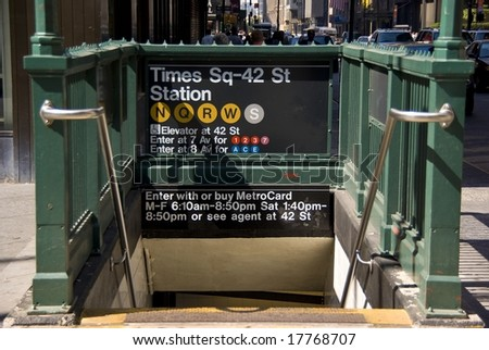 Subway entrance in Times Square, New York City - stock photo