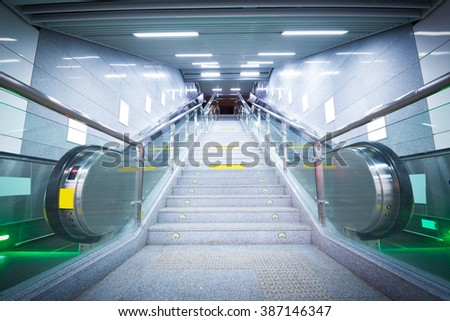 Subway escalator - stock photo