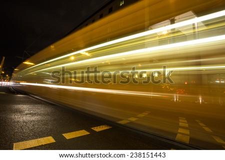 subway lights at night - stock photo