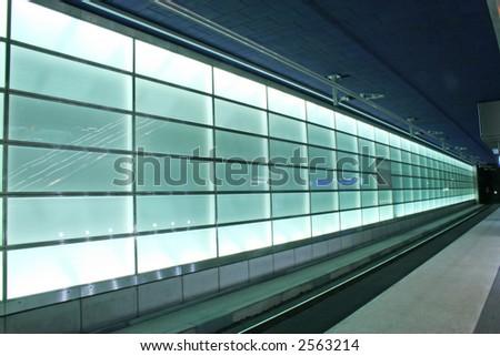 Subway lights on the train station from Potsdamer Platz, Berlin - stock photo