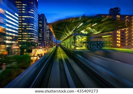 Subway Motion blur of a city from inside, monorail in Tokyo. - stock photo