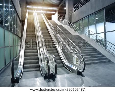 Subway stations escalator - stock photo