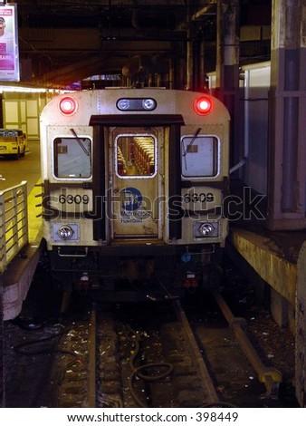 Subway Train on tracks - stock photo