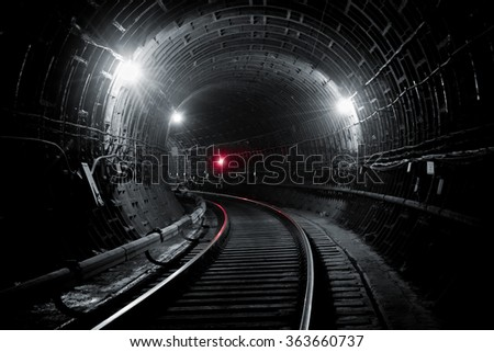 Subway tunnel. Kiev, Ukraine. Kyiv, Ukraine - stock photo
