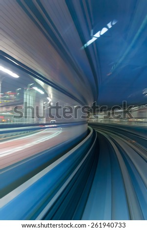 Subway tunnel monorail in Tokyo, Concept of modern metro underground transport and connection speed - stock photo