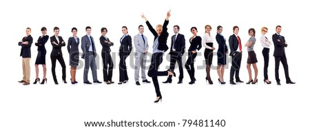 Succesful business woman and her team isolated over a white background - stock photo