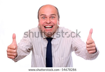 Succesful senior businessman showing his thumb up. - stock photo