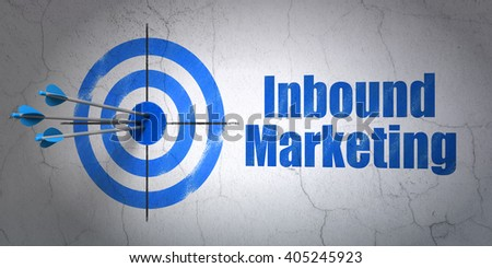 Success advertising concept: arrows hitting the center of target, Blue Inbound Marketing on wall background, 3D rendering - stock photo