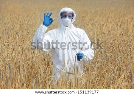 success - agricultural engineer with ok gesture on field of crops - stock photo