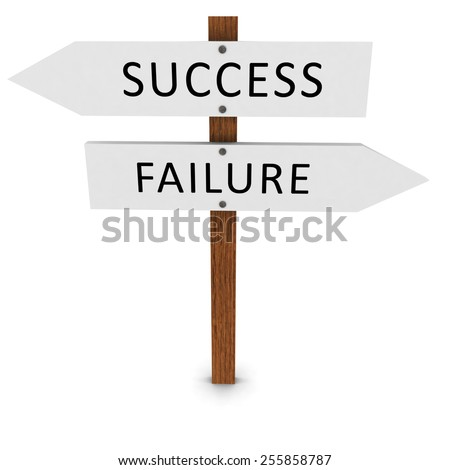 Success and Failure Arrow Signs - stock photo