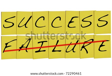 Success and failure concept on yellow notes - stock photo