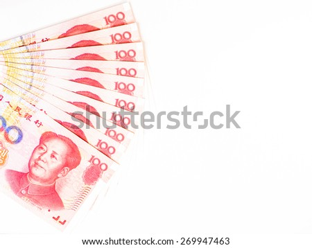 Success and got profit from business with China yuan currency ,money banknote on white background - stock photo