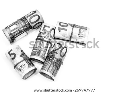 Success and got profit from business with roll of Euro ccurrency,money banknote on white background also with black and white color - stock photo