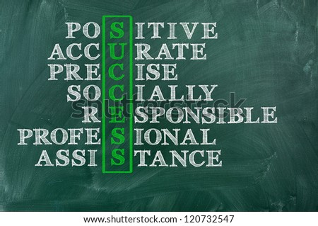 Success and other related words, handwritten in crossword on green blackboard.Socially responsible   Business concept. - stock photo