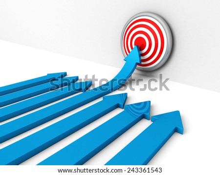 success blue rising arow to center of target. Out from crowd. concept 3d render illustration - stock photo