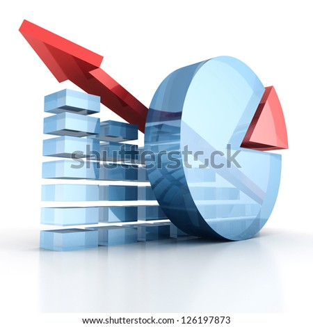 success business chart diagram with growing red arrow - stock photo