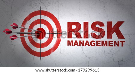 Success business concept: arrows hitting the center of target, Red Risk Management on wall background, 3d render - stock photo