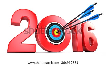 success business concept - 2016 year and Arrows hitting the center of target - stock photo