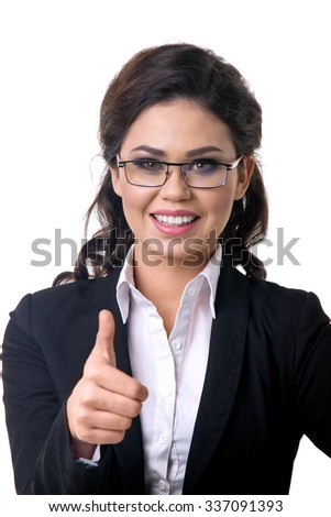 Success business woman thumbs up - stock photo