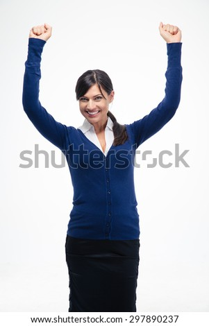 Success businesswoman celebrating her winner with arms raised up isolated on a white background. Looking at camera - stock photo