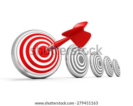 Success Concept Dart Target With Arrow. 3d Render Illustration - stock photo