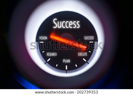 Success concept displayed on a gauge - stock photo