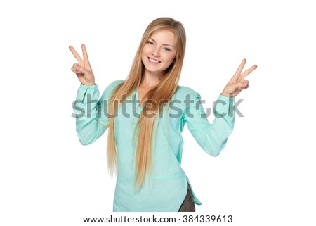 Success concept. Happy smiling woman with victory success hand sign, isolated on white background - stock photo