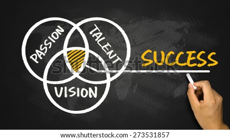 success concept pie chart hand drawing on blackboard - stock photo