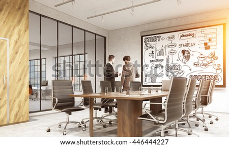 Success concept with business sketch on whiteboard in conference room interior with discussing businesspeople and sunlight. 3D Rendering - stock photo