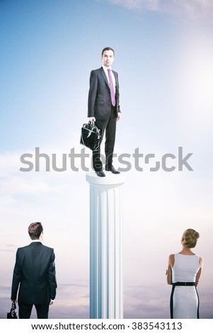 Success concept with businessman on column and other people - stock photo