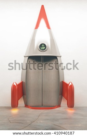 Success concept with closed door of rocket elevator going up. 3D Rendering - stock photo