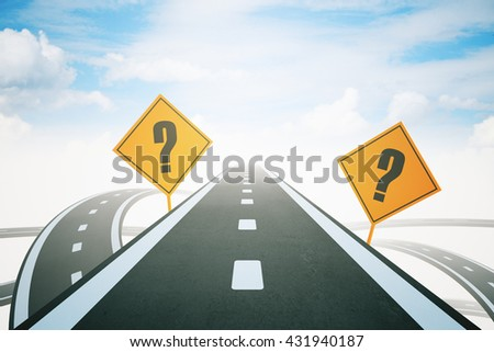 Success concept with question mark signs and highway road leading to bright sky. 3D Rendering - stock photo