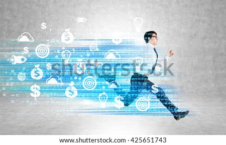Success concept with running businessman and digital code with target, startup and financial wellbeing icons - stock photo