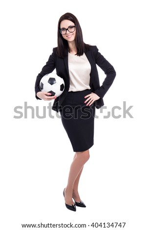success concept - young business woman with soccer ball isolated on white - stock photo