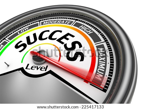 success conceptual meter indicate maximum, isolated on white background - stock photo