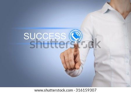 Success Contact Us Concepts on Visual Screen - stock photo