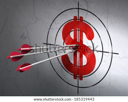 Success currency concept: arrows hitting the center of Red Dollar target on wall background, 3d render - stock photo