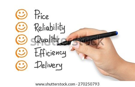 Success. Customer hand evaluate happy on price quality delivery reliability and efficiency - stock photo