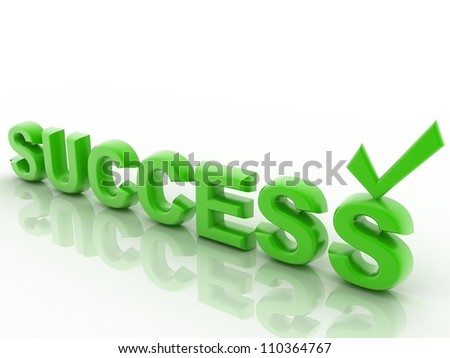Success 3D text isolated on a white background - stock photo