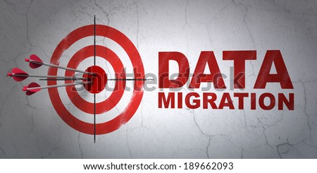 Success Data concept: arrows hitting the center of target, Red Data Migration on wall background, 3d render - stock photo