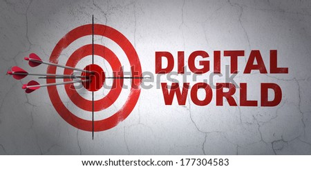 Success Data concept: arrows hitting the center of target, Red Digital World on wall background, 3d render - stock photo