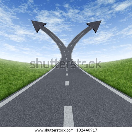 Success decision as a cross roads and upward growth streets in the shape of arrows showing a fork in the path representing the concept of direction when facing two equal or similar options. - stock photo