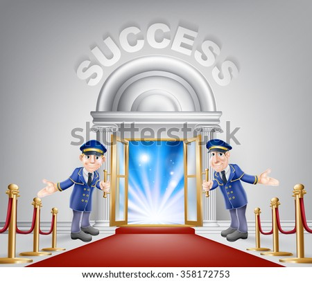 Success door concept of a doormen holding open a door at a red carpet entrance with velvet ropes. Light streaming through it, could be the door to new career. - stock photo