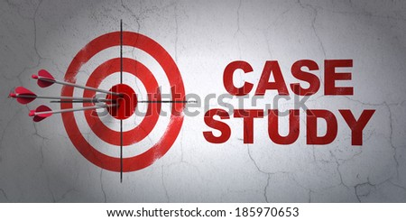 Success Education concept: arrows hitting the center of target, Red Case Study on wall background, 3d render - stock photo