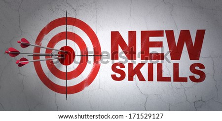 Success Education concept: arrows hitting the center of target, Red New Skills on wall background, 3d render - stock photo