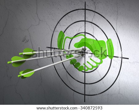 Success finance concept: arrows hitting the center of Green Handshake target on wall background - stock photo
