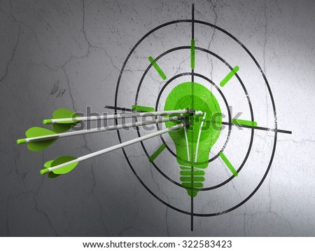 Success finance concept: arrows hitting the center of Green Light Bulb target on wall background - stock photo